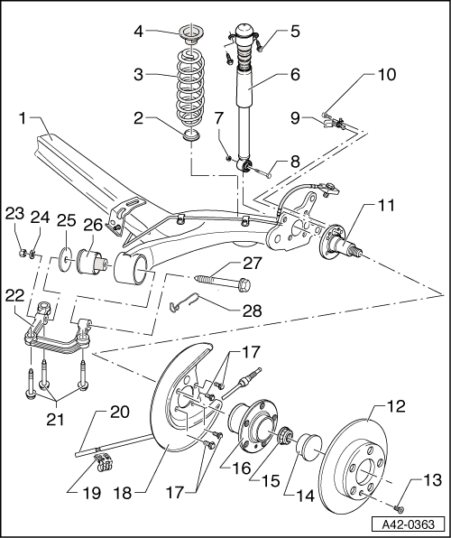 audi s4 rear suspension diagram