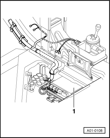 The convenience system central control unit -J393 is located in an electronics box (in false floor) in Position -1- at the front, under the driver's seat.