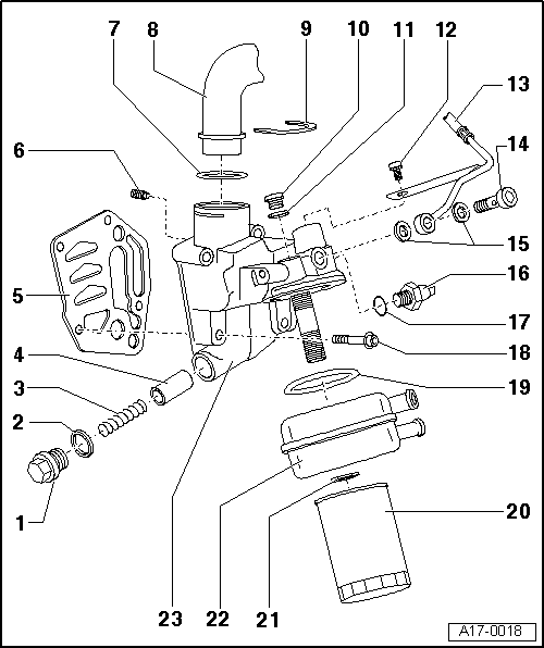 5valve Turbocharged Engine 154165 Kw Mechanics > Lubrication Removing And Installing Parts Of System Oil Filter Cooler: Audi 5 Valve Engine Diagram At Hrqsolutions.co