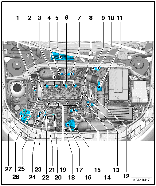 A on Diesel Engine Exploded View Diagram