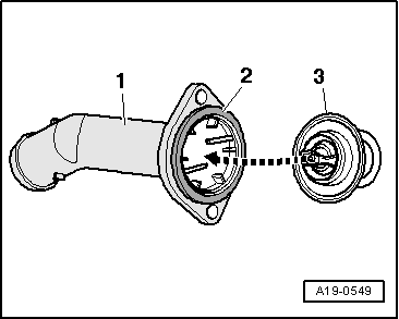 audi engine coolant with Removing Installing And Checking Thermostat on Exploded view of fitting locations additionally T15149554 Map sensor located 1 9 litre vw jetta moreover 2 7t Coolant Diagram together with 1990 Lexus Ls400 Wiring Diagram together with P 0996b43f8037cc9e.