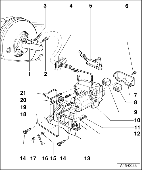 Audi Workshop Manuals A4 Mk1 Brake System Abs Adr Tcs Edl