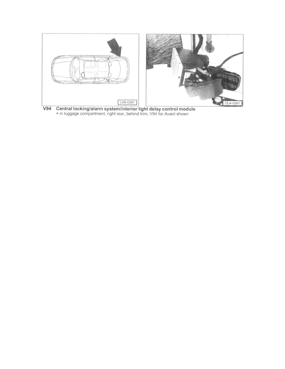 Audi Workshop Manuals A4 Quattro Wagon L4 18l Turbo Aeb 1999 Diagrams For Engines Relays And Modules Accessories Optional Equipment Alarm Module Vehicle Antitheft Component Information Locations
