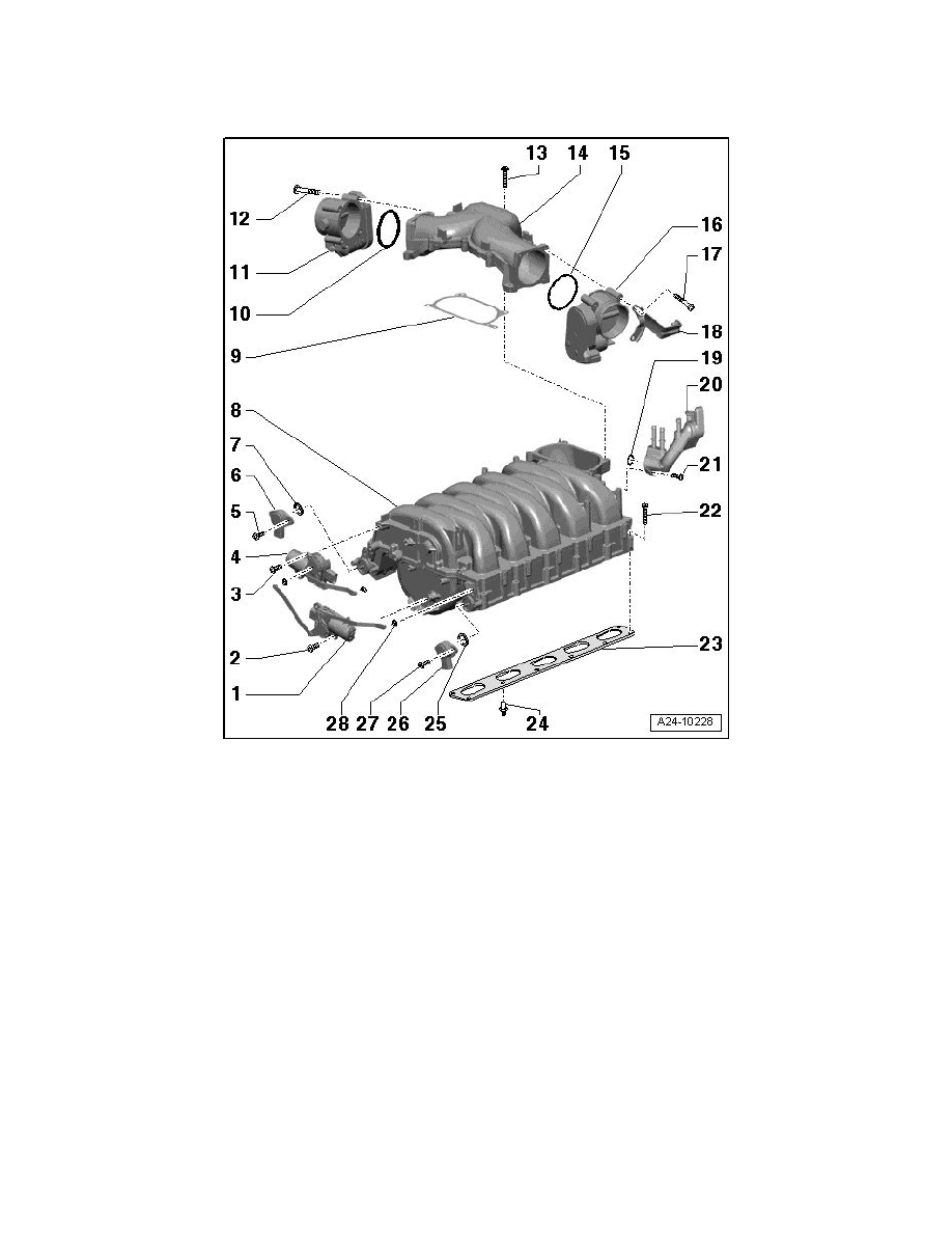 Audi Workshop Manuals S8 Quattro Sedan V10 52l Bsm 2009 A8 V1 0 Engine Diagram Cooling And Exhaust Intake Manifold Component Information Service Repair Assembly Overview