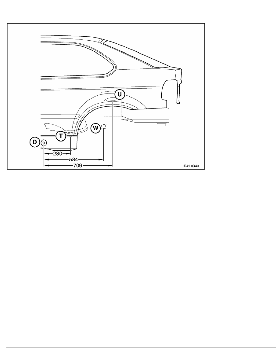 2 Repair Instructions > 41 Body (COMP) > 0 Body > 11 RA Frame Alignment  Control Dimensions Of Body, Side View Of BMW E 36 Compact