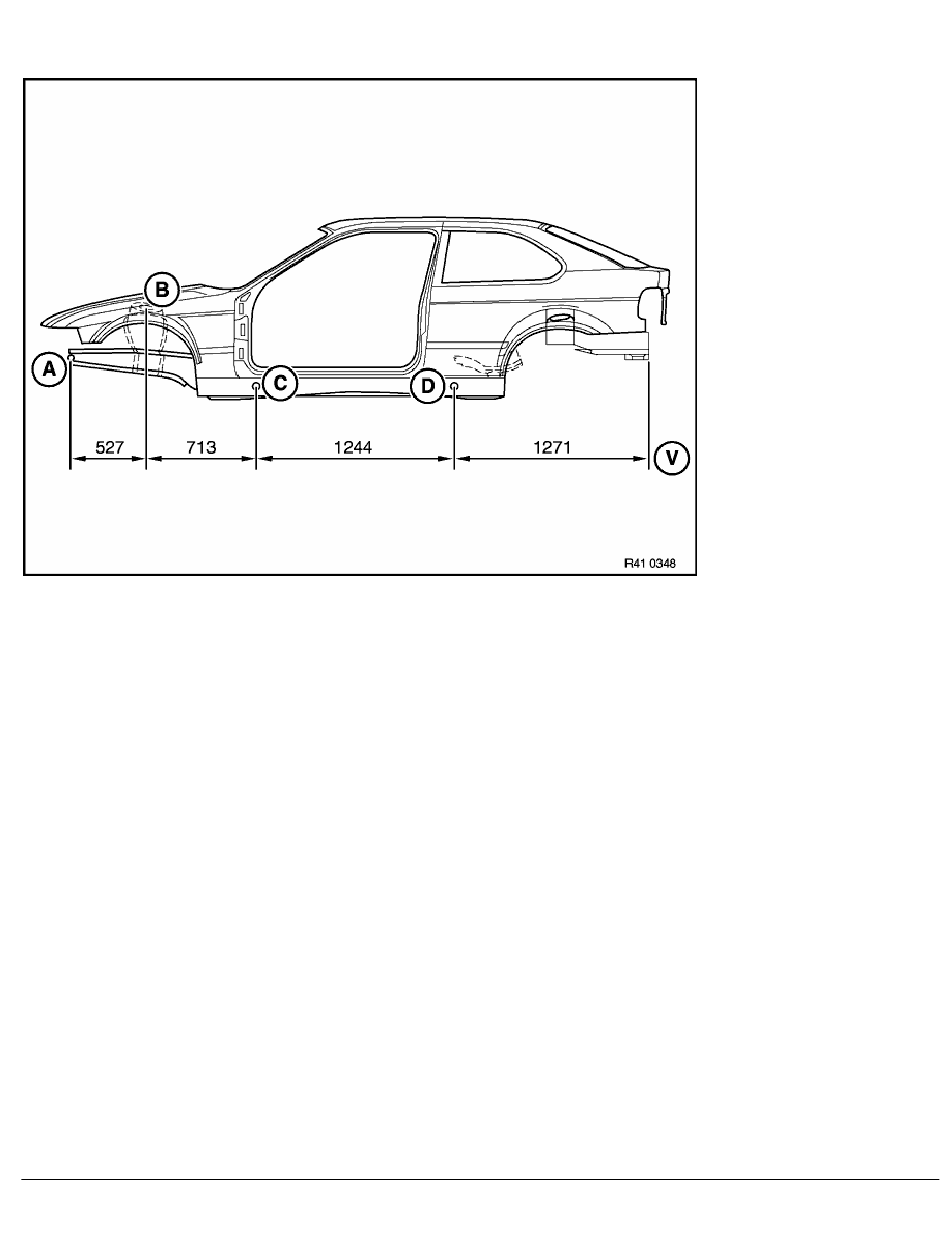 2 Repair Instructions > 41 Body (COMP) > 0 Body > 10 RA Frame Alignment  Control Dimensions Of Body, Side View Of BMW E 36 Compact