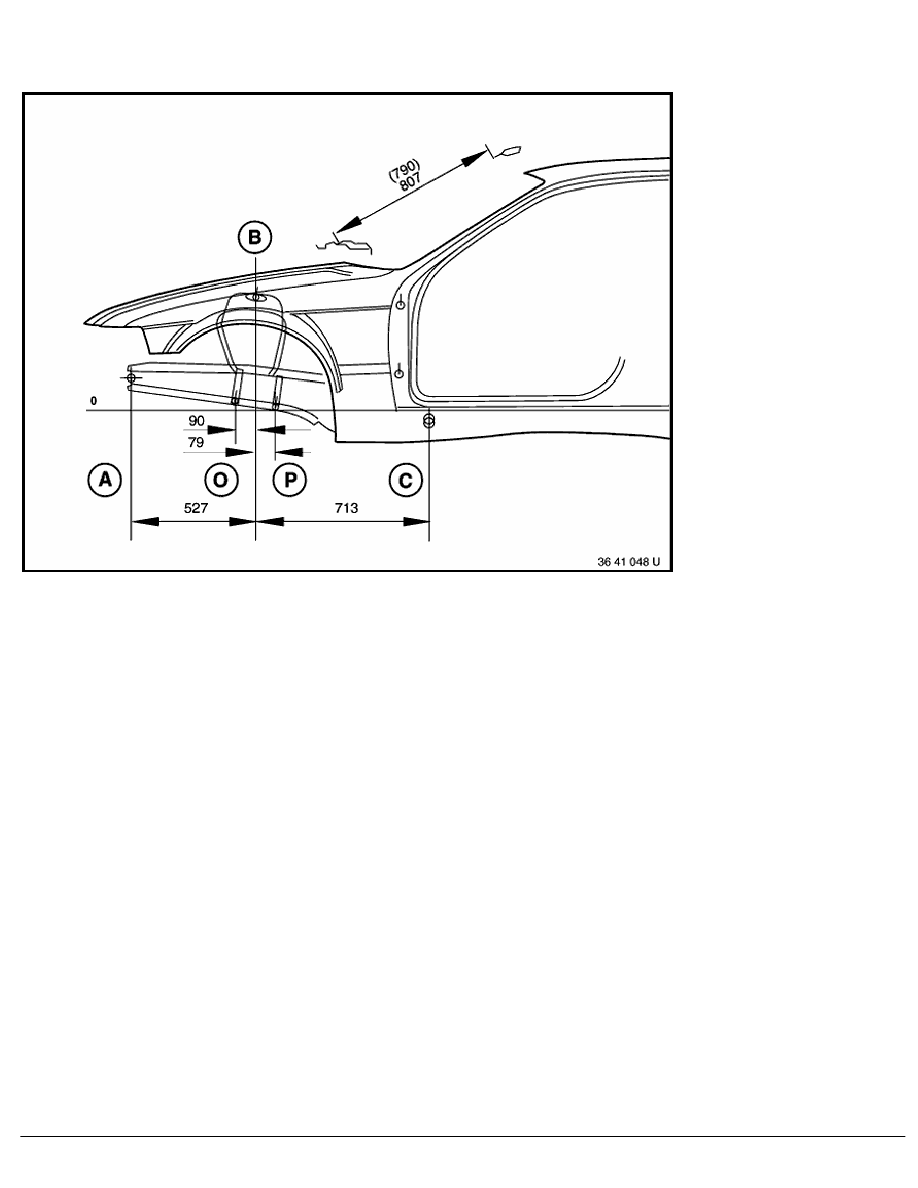 2 Repair Instructions > 41 Body (COUPE) > 0 Body > 7 RA Frame Alignment  Control Dimensions For Body, Side View Of Front Structure Of BMW