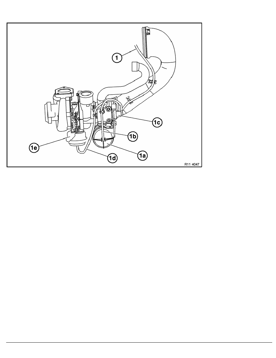 2 repair instructions > 11 engine (m57) > 74 el valve for exh  gas  recirculation > 3 ra layout of vacuum hoses for exhaust turbocharger (m57)