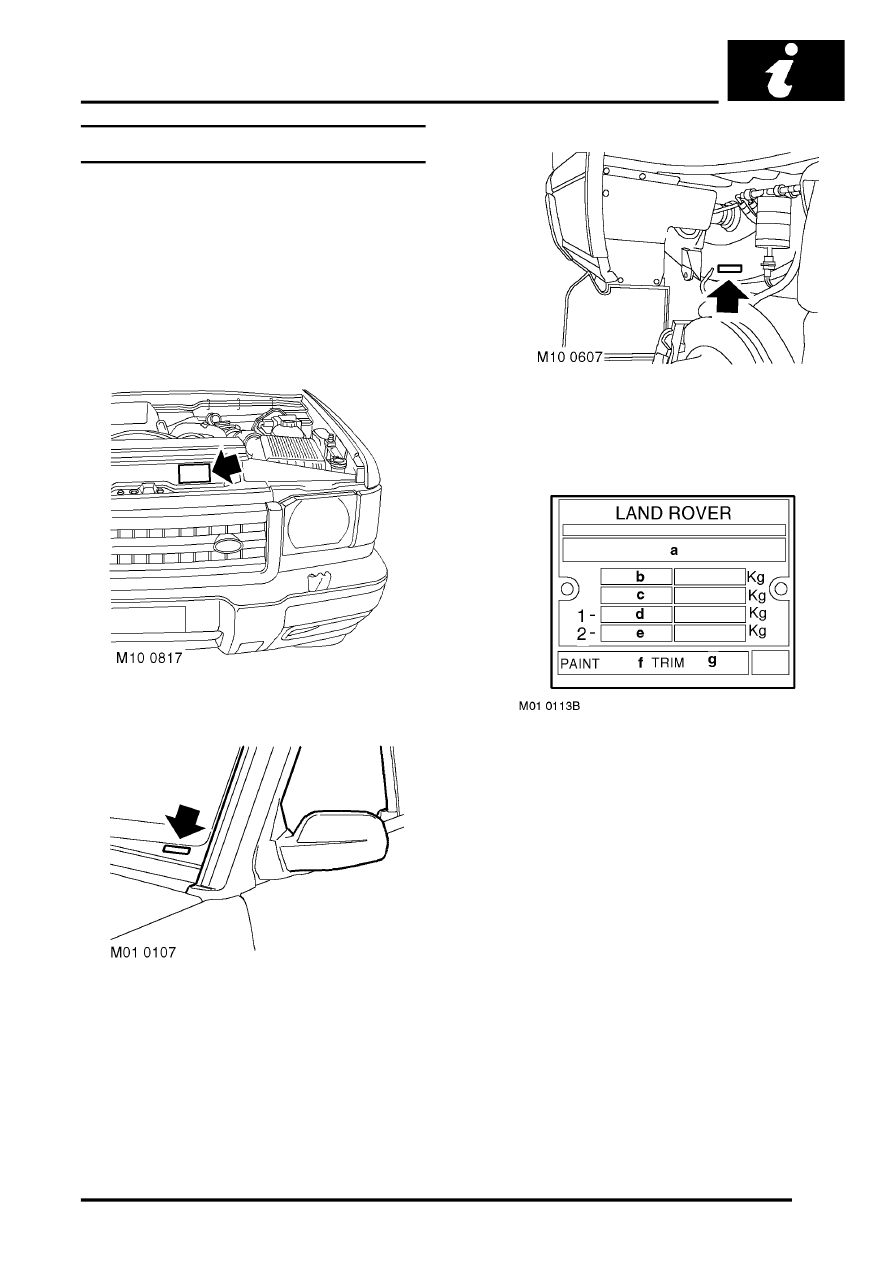 IDENTIFICATION NUMBERS > Vehicle Identification Number
