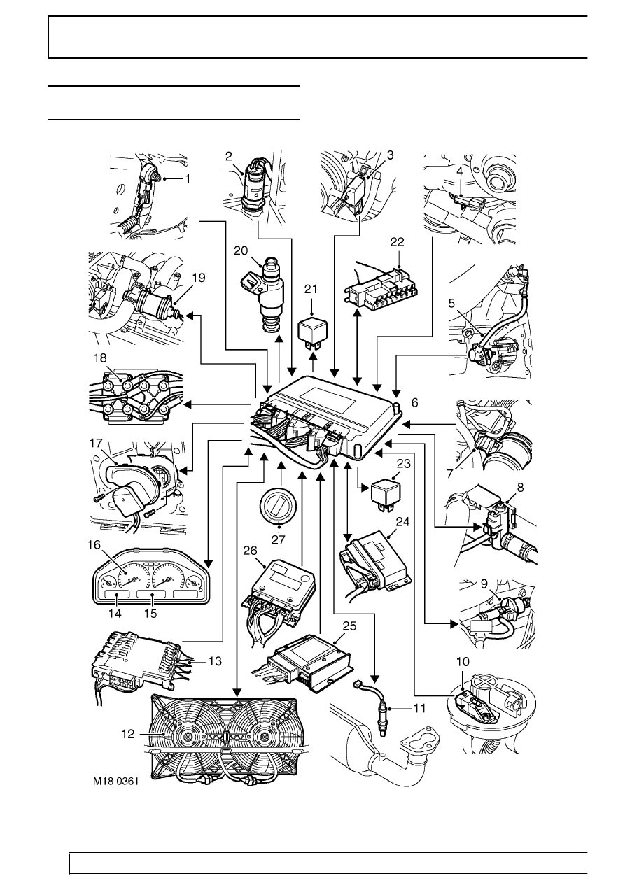 19 - FUEL SYSTEM - LAND ROVER V8 > DESCRIPTION AND OPERATION > ENGINE  MANAGEMENT SYSTEM SCHEMATIC - from 99MY