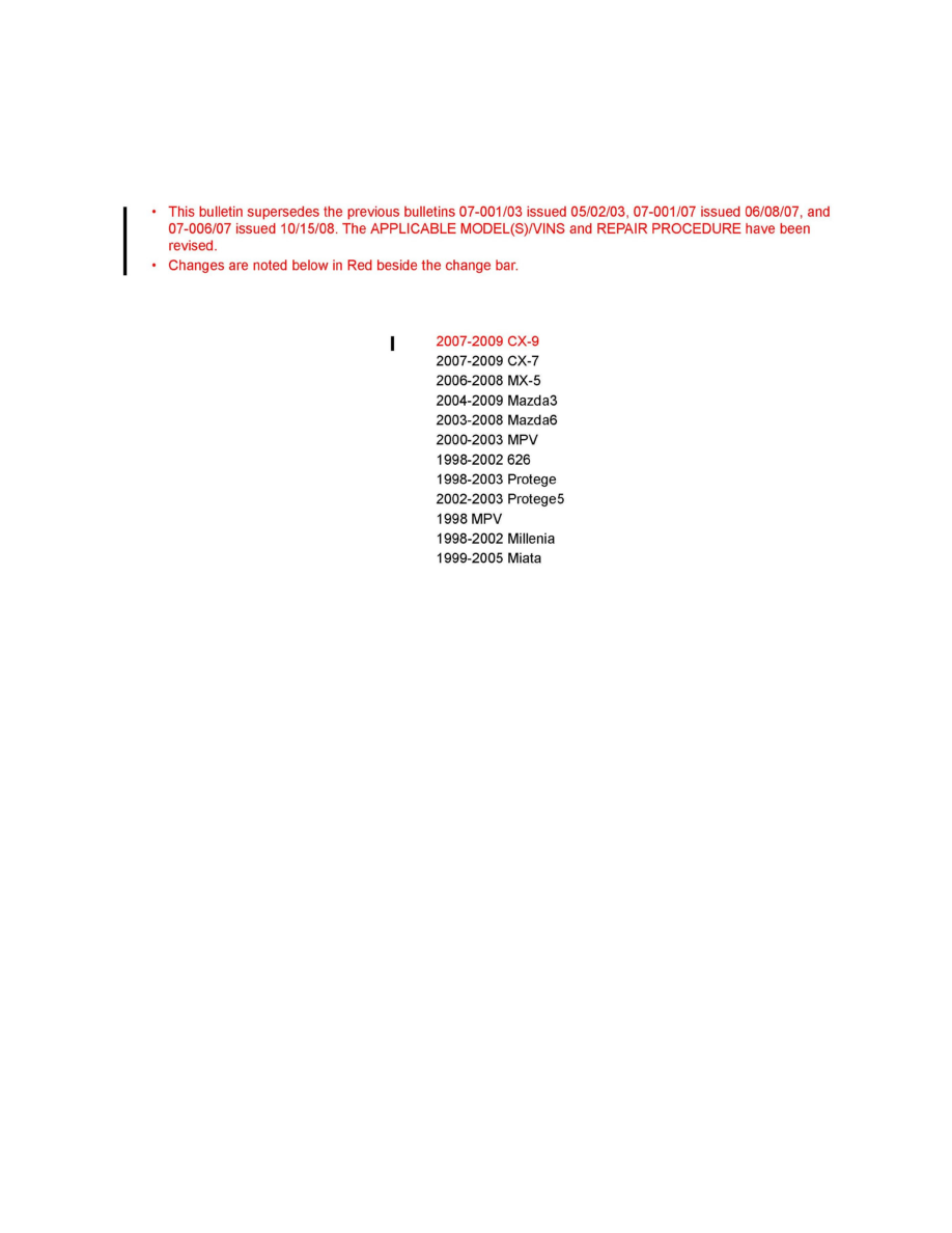 background image. Technical Service Bulletin # 0700209. Date: 090624