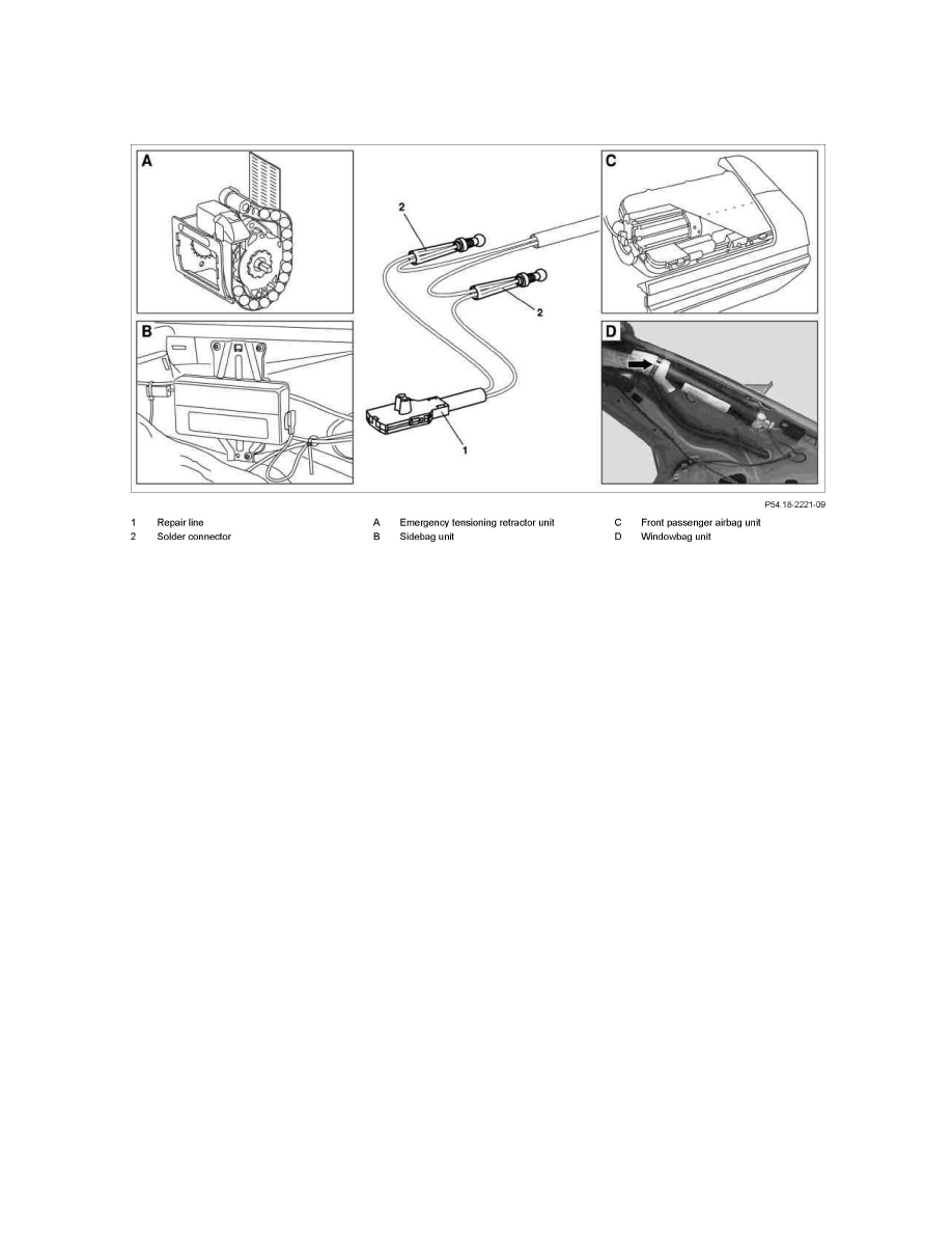 Mercedes Benz Workshop Manuals 500sl 129067 V8 50l 119972 Wiring Harness Connector Repair Restraint Systems Air Bag Component Information Service And Page
