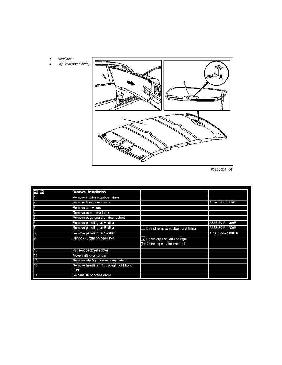 Body and Frame > Interior Moulding / Trim > Headliner > Component  Information > Service and Repair > AR68.30-P-4300F Remove/Install Headliner  > Page 10137