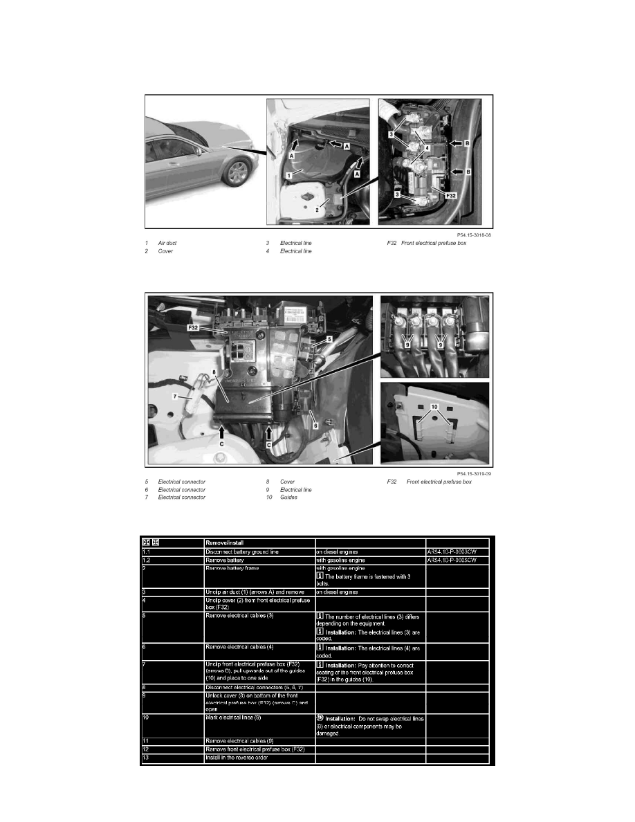 Mercedes Benz Workshop Manuals Glk 350 4matic 204987 V6 35l Fuse Box Components Power And Ground Distribution Block Component Information Service Repair Ar5415 P 1330cw Remove Install Front Prefuse