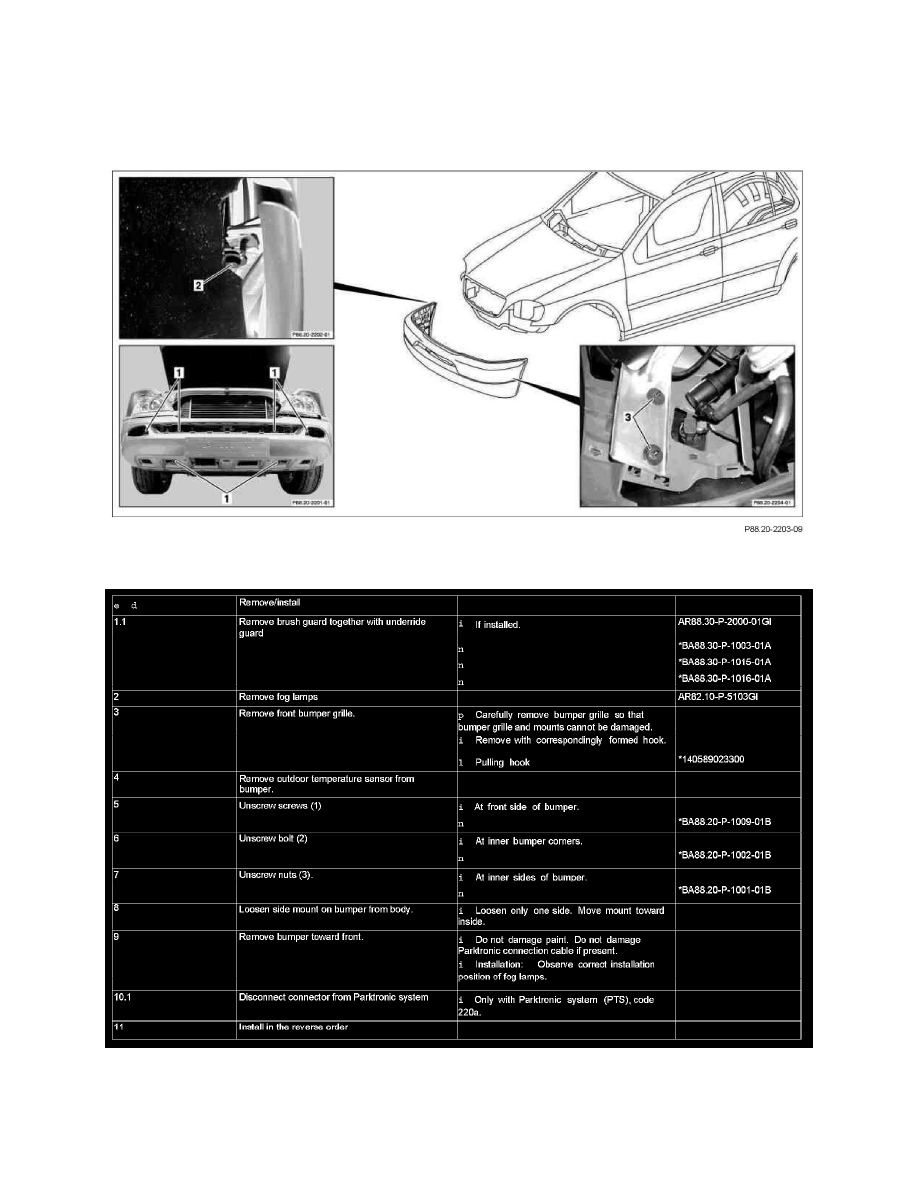 Body and Frame > Bumper > Front Bumper > System Information > Service and  Repair > AR88.20-P-2000GH Remove/Install Front Bumper > Page 11249