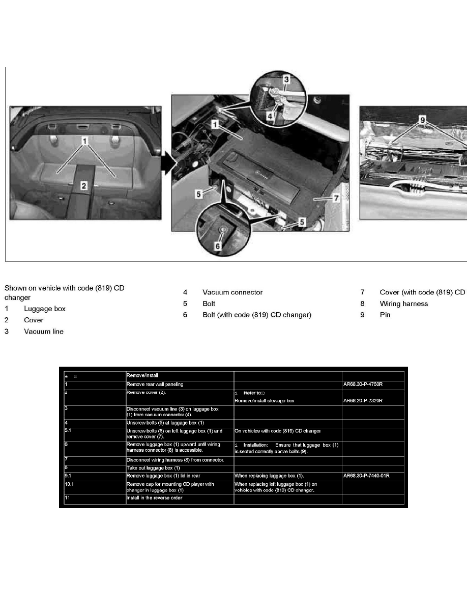Mercedes Benz Workshop Manuals Sl 550 230471 V8 55l 273965 Remove Wiring Harness Pins Body And Frame Interior Moulding Trim Utility Storage Compartment Component Information Service Repair Ar6830 P 7440ra Install Rear