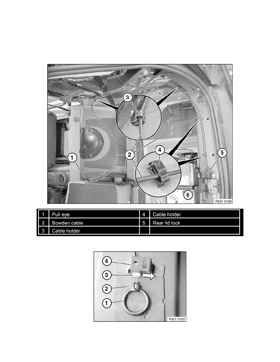 Body and Frame > Doors, Hood and Trunk > Trunk / Liftgate > Trunk /  Liftgate Latch Release Cable > Component Information > Service and Repair