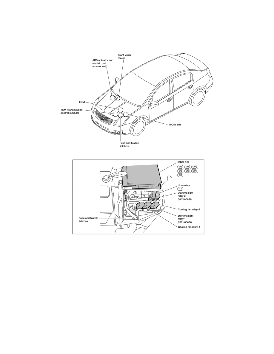 Nissan Sentra Service Manual: Electrical units location