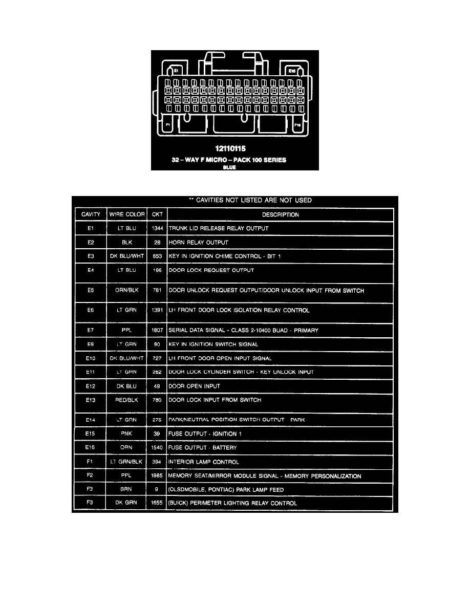 Oldsmobile Workshop Manuals Eighty Eight V6 38l Vin K 1997 Nissan Sentra Engine Diagram Body And Frame Locks Keyless Entry Module Component Information Diagrams Pass Key R Ii Decoder Page 10477