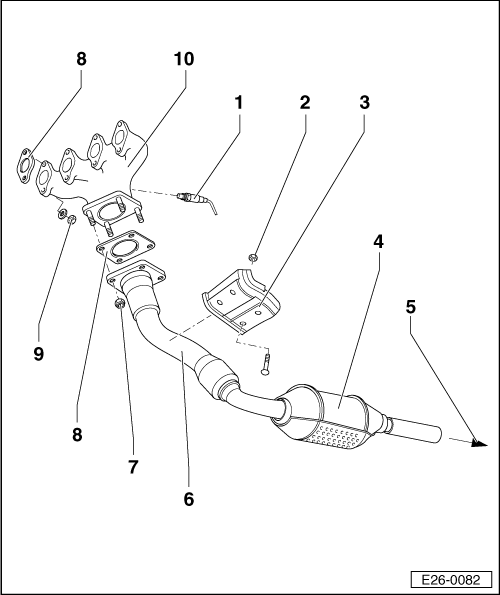 Exhaust system on spanner gasket