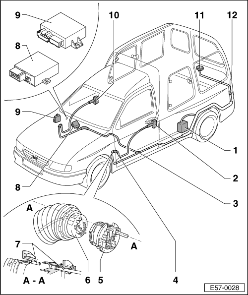 body > general external body assembly work > front door, central locking > central  locking > central locking: general installation diagram
