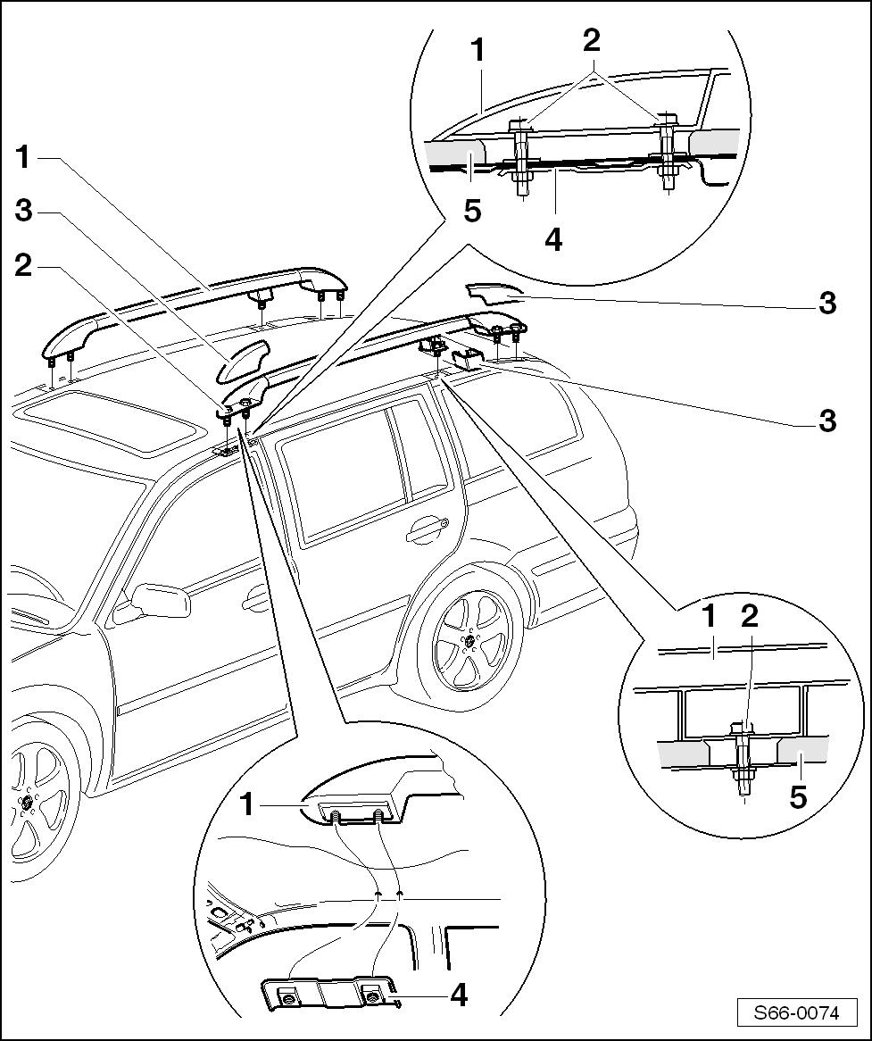 Body > Body Work > Exterior equipment > Roof rack > Summary of components  of roof rack (Octavia Combi)