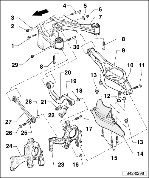 Skoda Workshop Manuals Octavia Mk2 Axles Steering Rear
