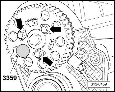 T18762959 2002 nissan sentra timing chain in addition Engine number likewise Removing and installing toothed belt as well Replacing camshaft gasket ring furthermore Removing and installing timing belt. on skoda timing belt