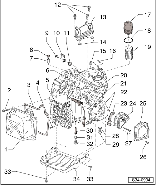 Skoda Workshop Manuals Yeti Power Transmission Gearbox 02e Dsg