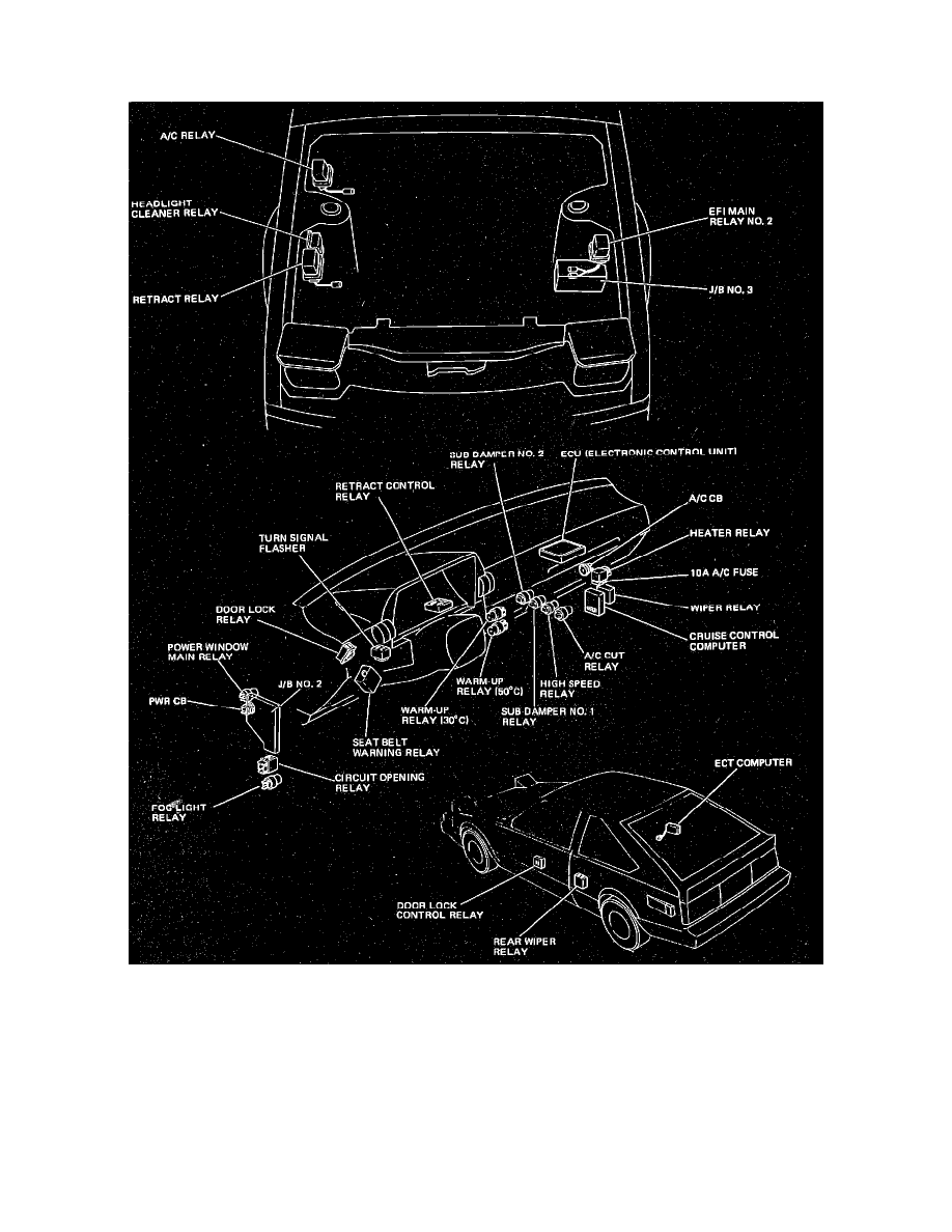 Toyota Workshop Manuals Celica Supra L6 30l Dohc 7m Ge 1986 Wiring Diagram 1984 Relays And Modules Body Frame Power Door Lock Relay Component Information Locations Control