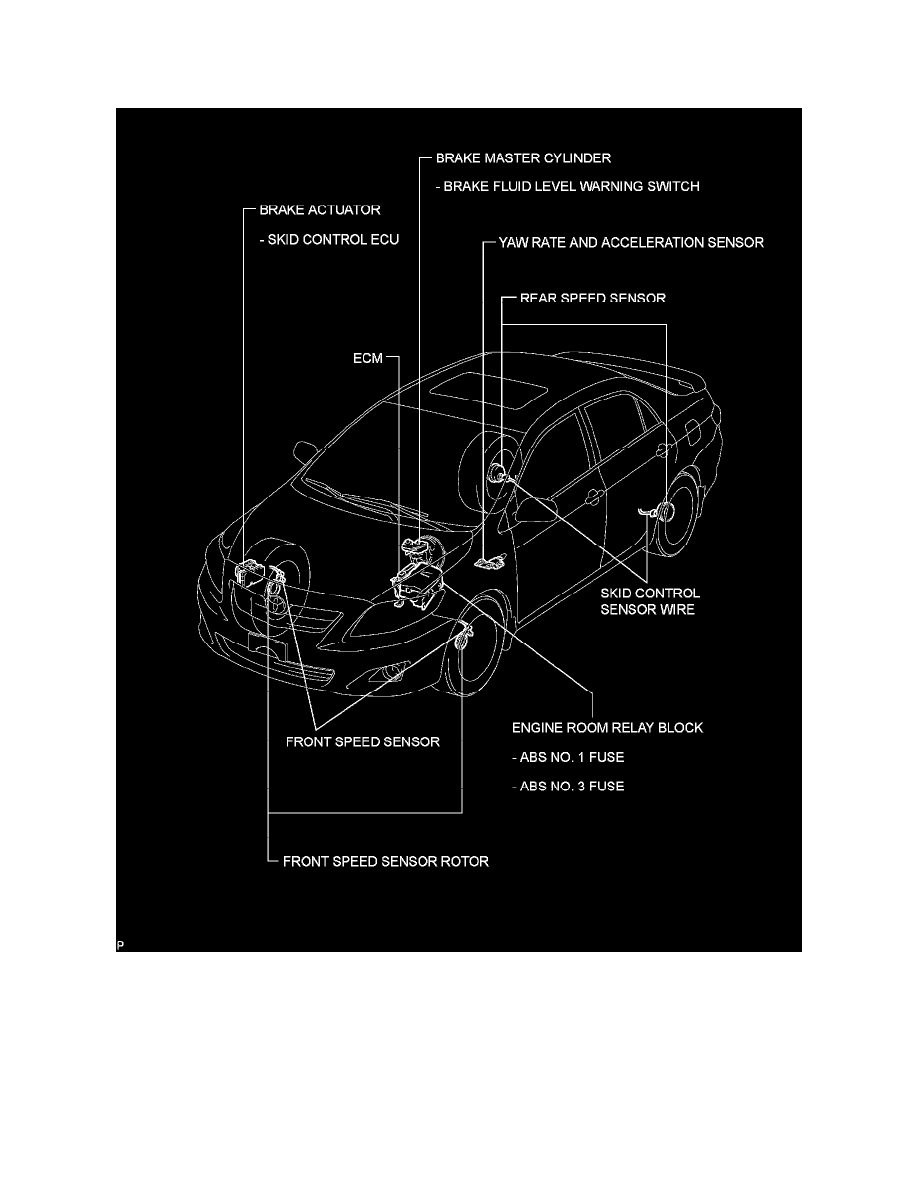 Toyota Workshop Manuals Corolla L4 24l 2az Fe 2010 Brakes Engine Diagram And Traction Control Sensors Switches Yaw Rate Sensor Component Information Locations