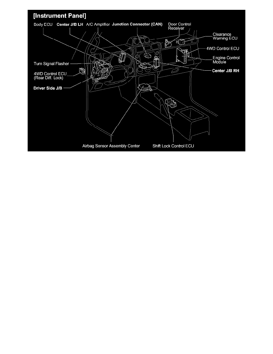 Toyota Workshop Manuals Fj Cruiser 4wd V6 40l 1gr Fe 2007 Engine Diagram Relays And Modules Accessories Optional Equipment Collision Avoidance Module Component Information Locations