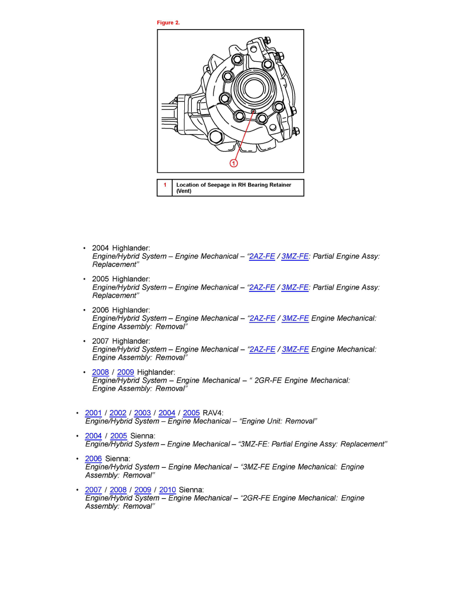Toyota Highlander Service Manual: Transfer case oil seal (4WD)