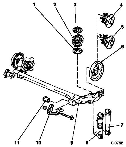 Vauxhall Workshop Manuals Astra G F Rear Axle And Rear Wheel