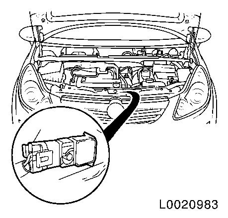 Replace airbag sensor  top front  centre on engine wiring harness