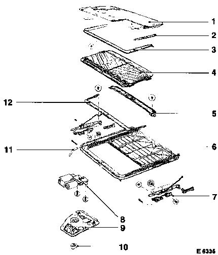 porsche boxster roof wiring diagram vauxhall workshop manuals > omega b > c body equipment > sliding roof > component locator ... roof assembly diagram