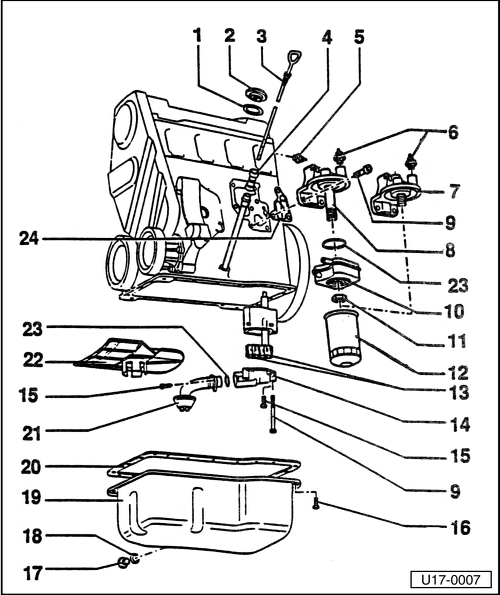 Removing and installing parts of lubrication system on 5 4l engine diagram