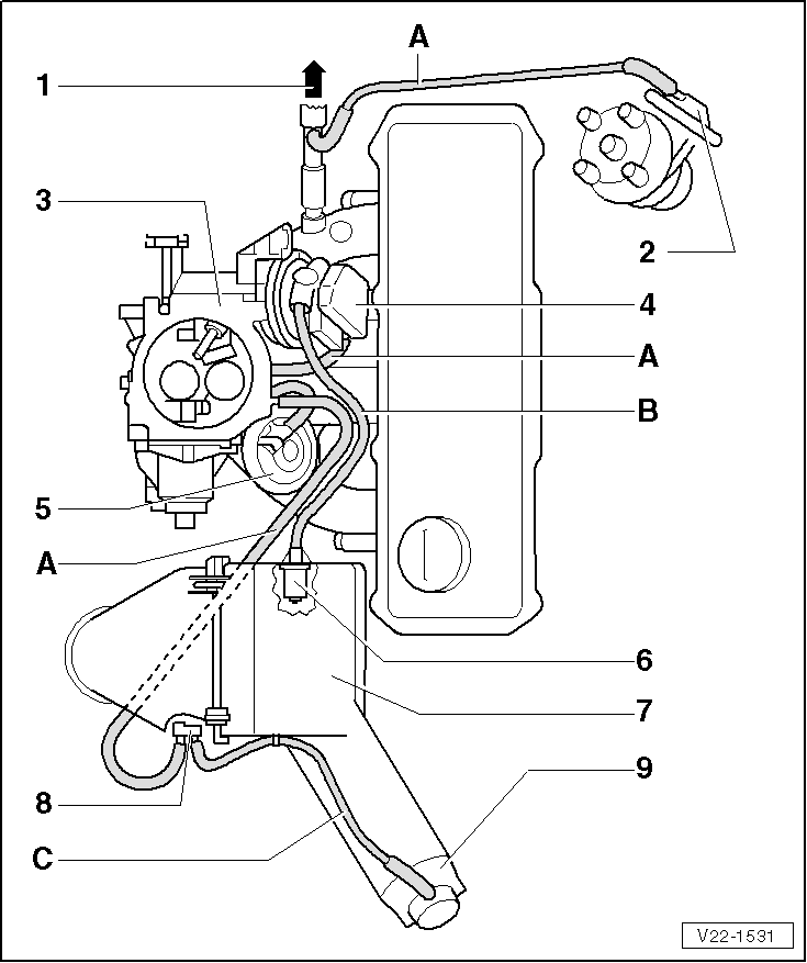 vacuum hose  vw carburetor vacuum hose diagram