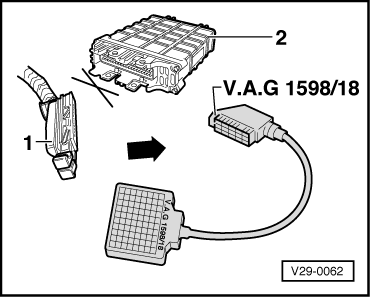 volkswagen workshop manuals > golf mk3 > power unit > motronic connect test box v a g 1598 18 to control unit wiring loom
