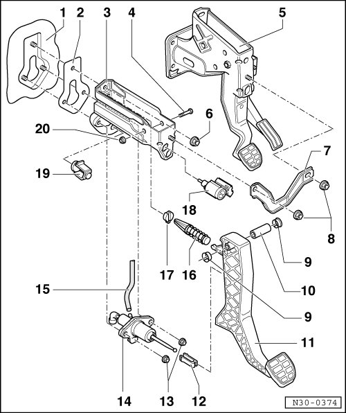 part number for clutch pedal spring pivot? - tdiclub forums yamaha g1 golf cart clutch diagram