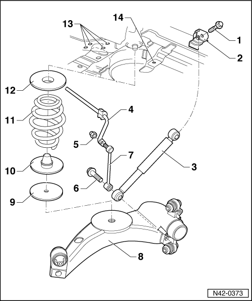 vw golf mk4 rear suspension diagram
