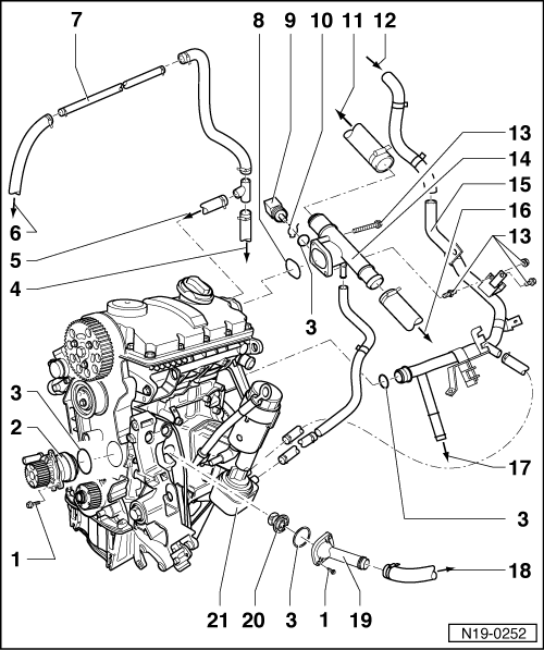 volkswagen workshop manuals u003e golf mk4 u003e power unit u003e 4 cylinder rh workshop manuals com 1999 VW Beetle Engine Diagram vw t5 diesel engine diagram