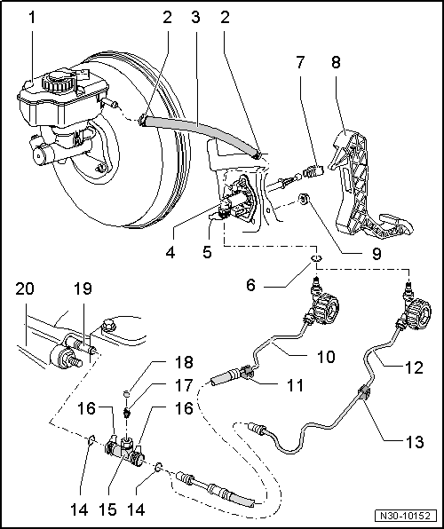 volkswagen workshop manuals > golf mk5 > power ... vw hydraulic clutch diagram hydraulic clutch system diagram