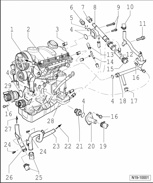 volkswagen workshop manuals u003e golf mk5 u003e power unit u003e 4 cylinder rh workshop manuals com vw golf mk5 diesel engine diagram vw t25 diesel engine wiring diagram