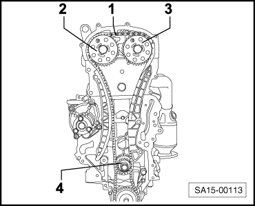 Removing and installing timing chain and chain drive for oil pump on timing chain diagram