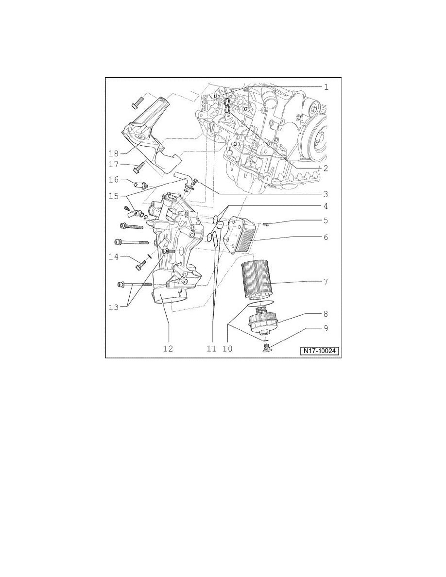 volkswagen workshop manuals touareg v8 4 2l axq 2006 engine VW Air Cooled Engine Diagram engine cooling and exhaust engine engine lubrication oil filter housing ponent information service and repair